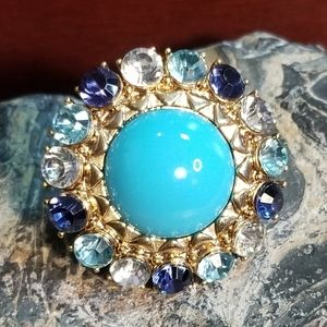 Faux Turquoise Blue Crystal Large Ring Sz 5